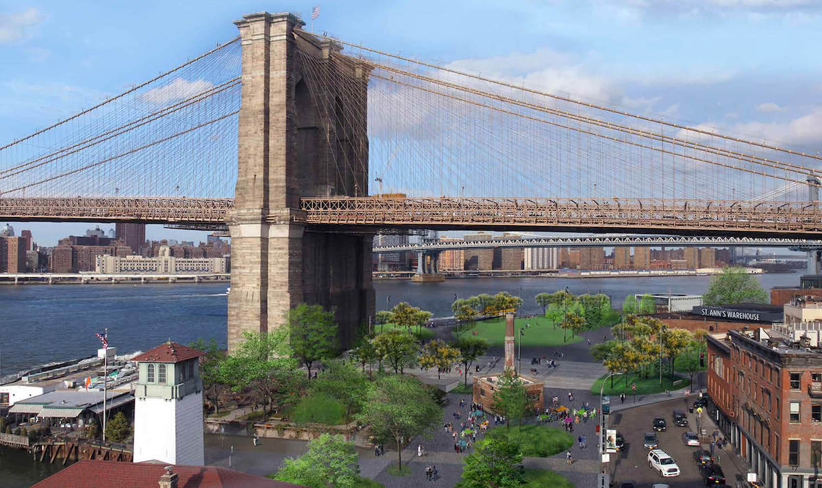 an illustration of brooklyn bridge park, with the site of Brooklyn Bridge Plaza underneath the brudge