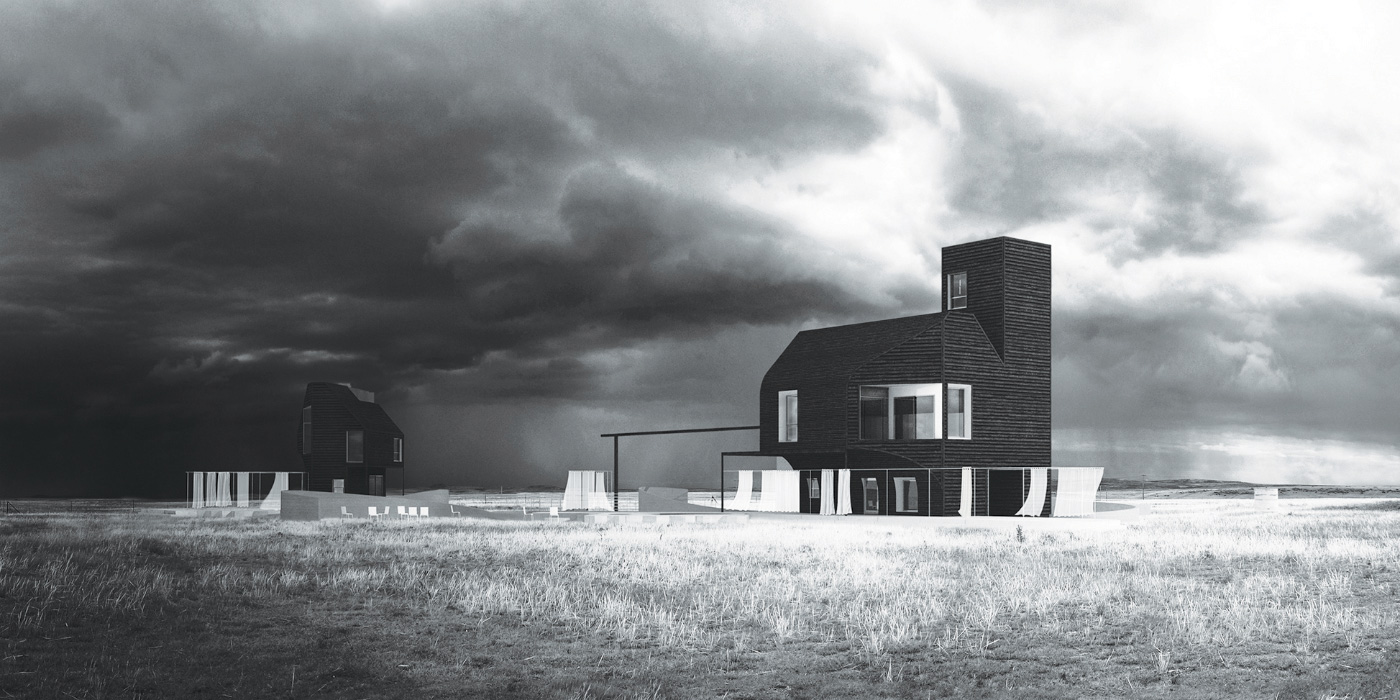 Black and white rendering of two farmhouses in a field