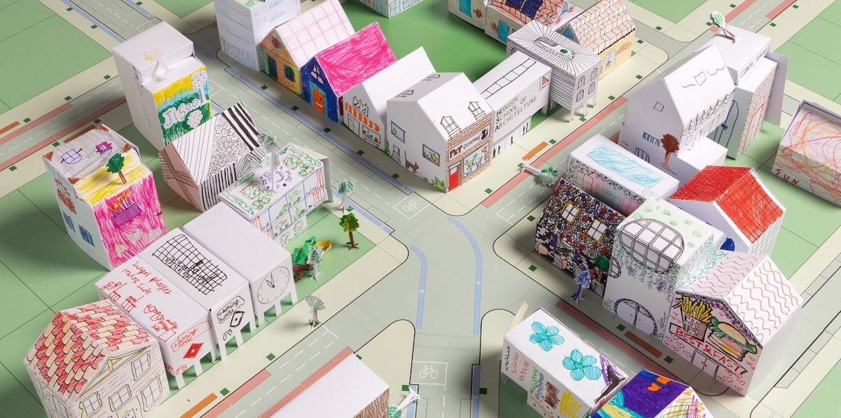 a neighborhood of paper houses, one part of Foster + Partners' online workshops