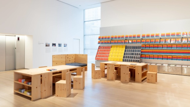 A reading room with plywood materials in the MoMA
