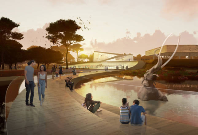 Rendering of the La Brea Tar Pits, with a mammoth sinking into a pit