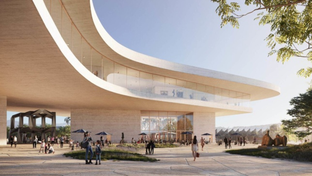Rendering of the new LACMA, a curving building with 2 shelves