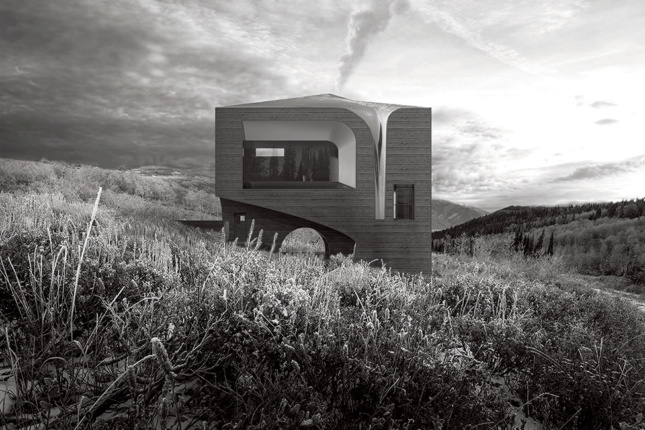 Black and white rendering of a mountain house from Unresolved Legibility in Residential Types
