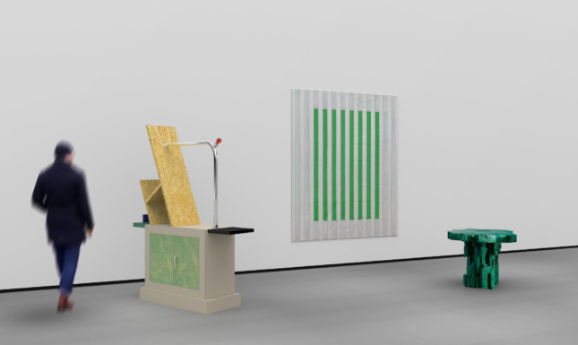 A collective design showroom with green stripes