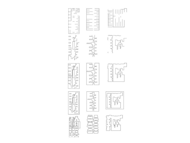 A sheet of rowhouse floor plans