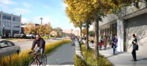 a rendering of a future bike/ped trail in lexington, kentucky, a Reimagining the Civic Commons city
