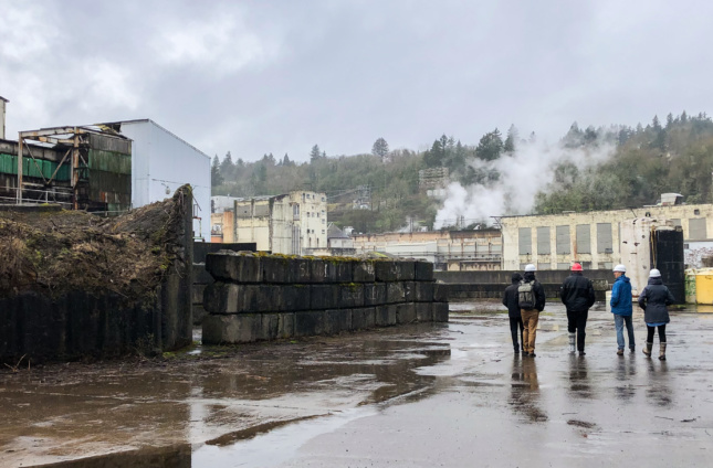 touring an old paper mill in Oregon City, oregon