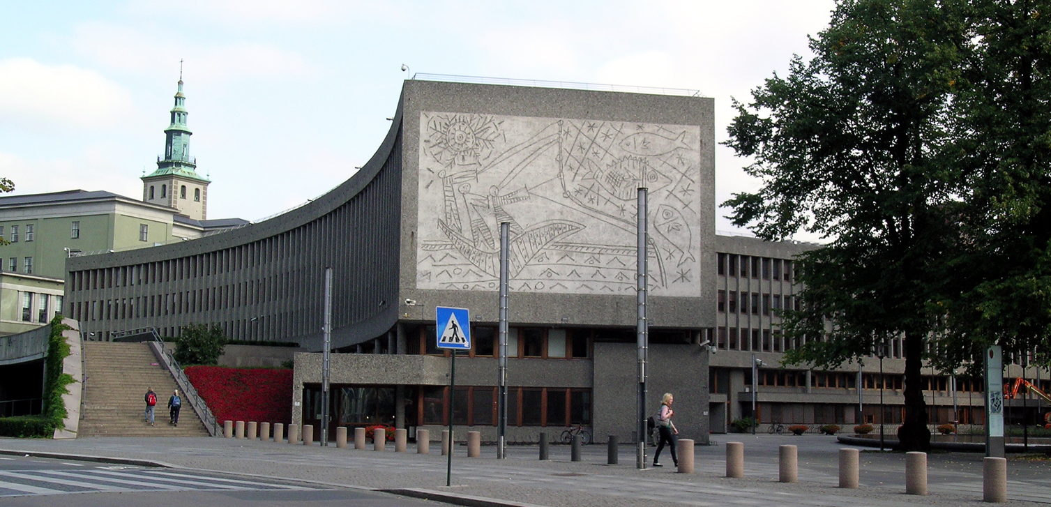 a public mural by pablo picasso in oslo, norway, on the y-block building