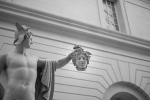 Photograph of statue of Perseus holding Medusa's head in the Metropolitan Museum of Art, a now-closed cultural institutions