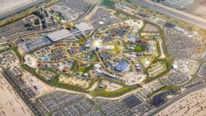 Aerial rendering of the Expo 2020 Dubai grounds