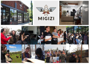Photo montage of the nonprofit Migizi's space and activities