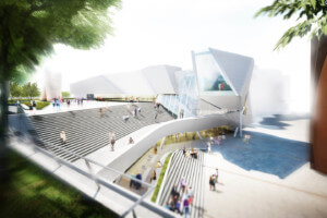 Rendering of the Orange County Museum of Art project from the exterior stair