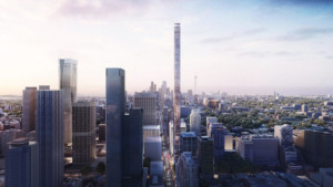 illustrated view of toronto skyline with planned supertall designed by Herzog & de Meuron