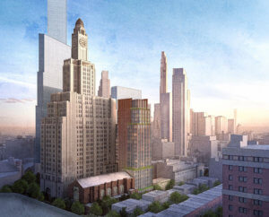 A rendering of the Brooklyn Music School with a tower next to it