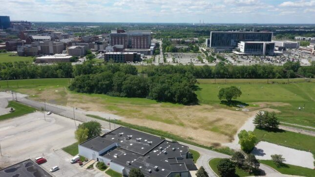 aerial view of the site of a future bridge in indianpolis