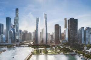 two proposed apartment towers emerge from the chicago skyline