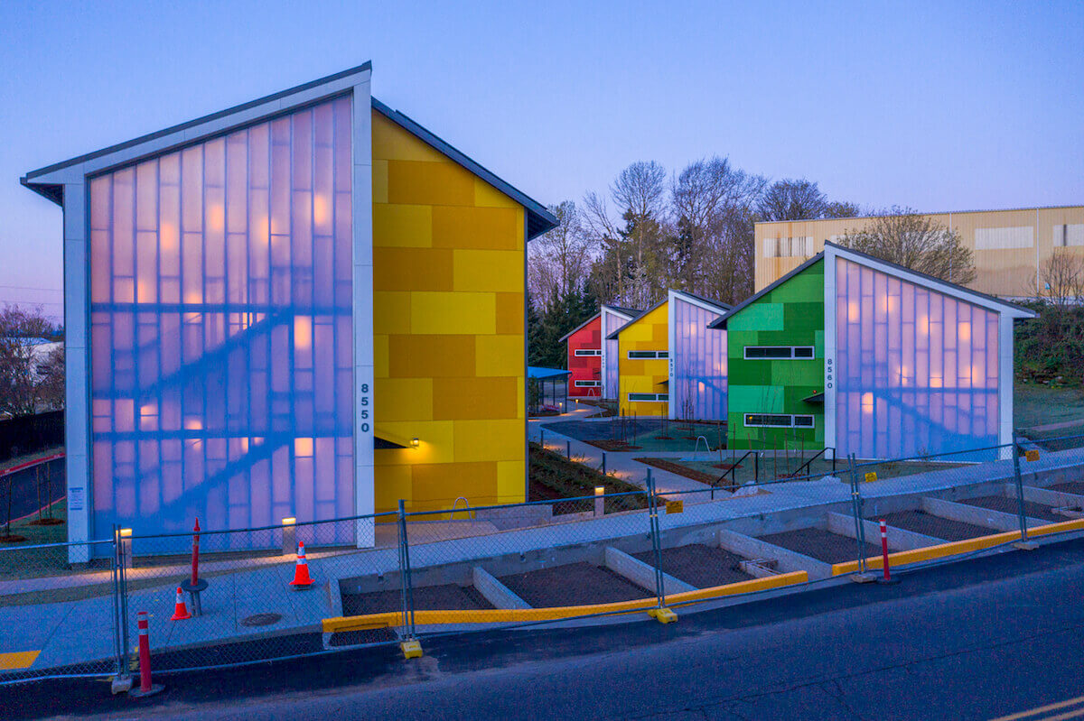 Colorful modular housing in Portland