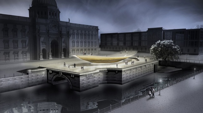 a conceptual rendering of a planned national monument in berlin.