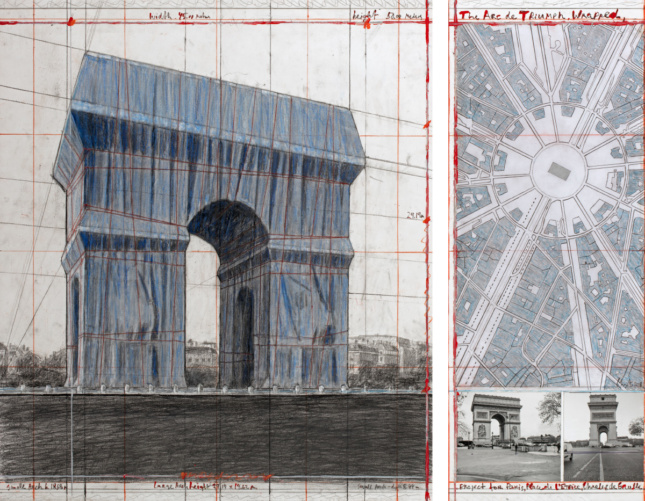 Drawing of the Arc de Triumph wrapped in fabric by Christo