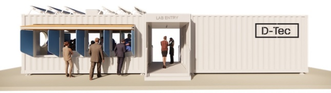 a conceptual shipping container covid testing unit