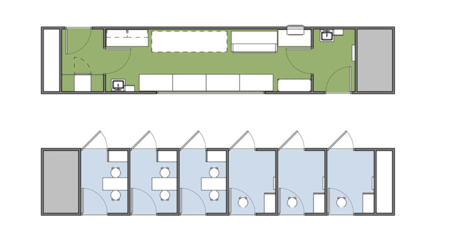 floorplan of modular covid-19 testing unit