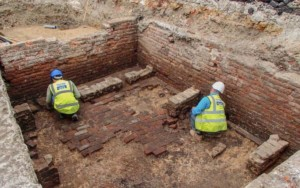 an archaelogical excavation site in london for the Red Lion