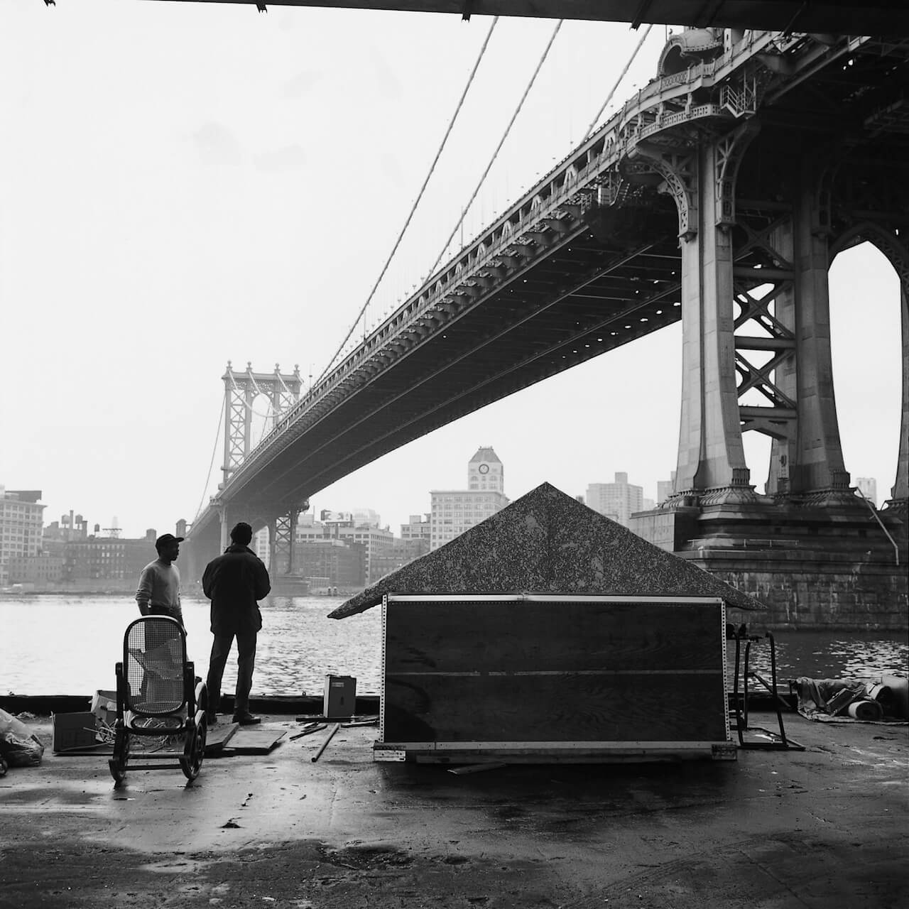 A black and white photo of a bridge by Margaret Morton
