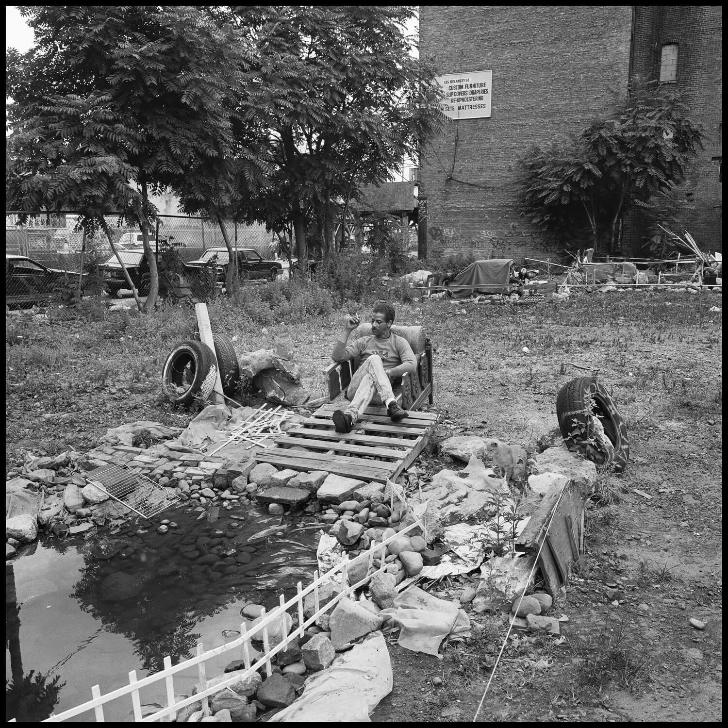 Photo of homeless residents of a garden