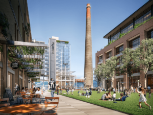 an illustration of a redevelopment project at a san francisco's old Potrero Power generating Station, complete with smokestack