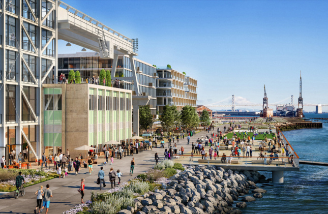 an illustration of a lively waterfront scene on a redeveloped industrial site in san francisco