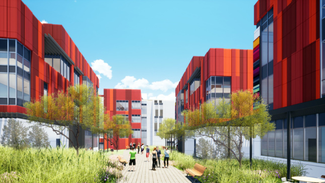 illustration of a recuperative care village in los angeles