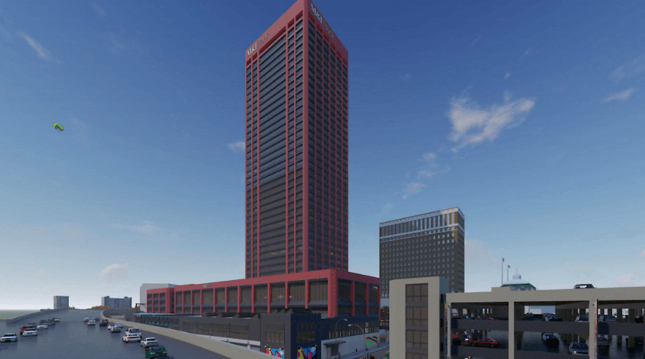 a rendering of a tower in buffalo painted red