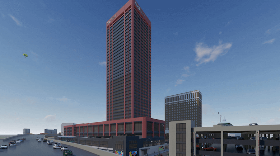 Some See Red As Buffalo S Tallest Tower Undergoes Facade Makeover