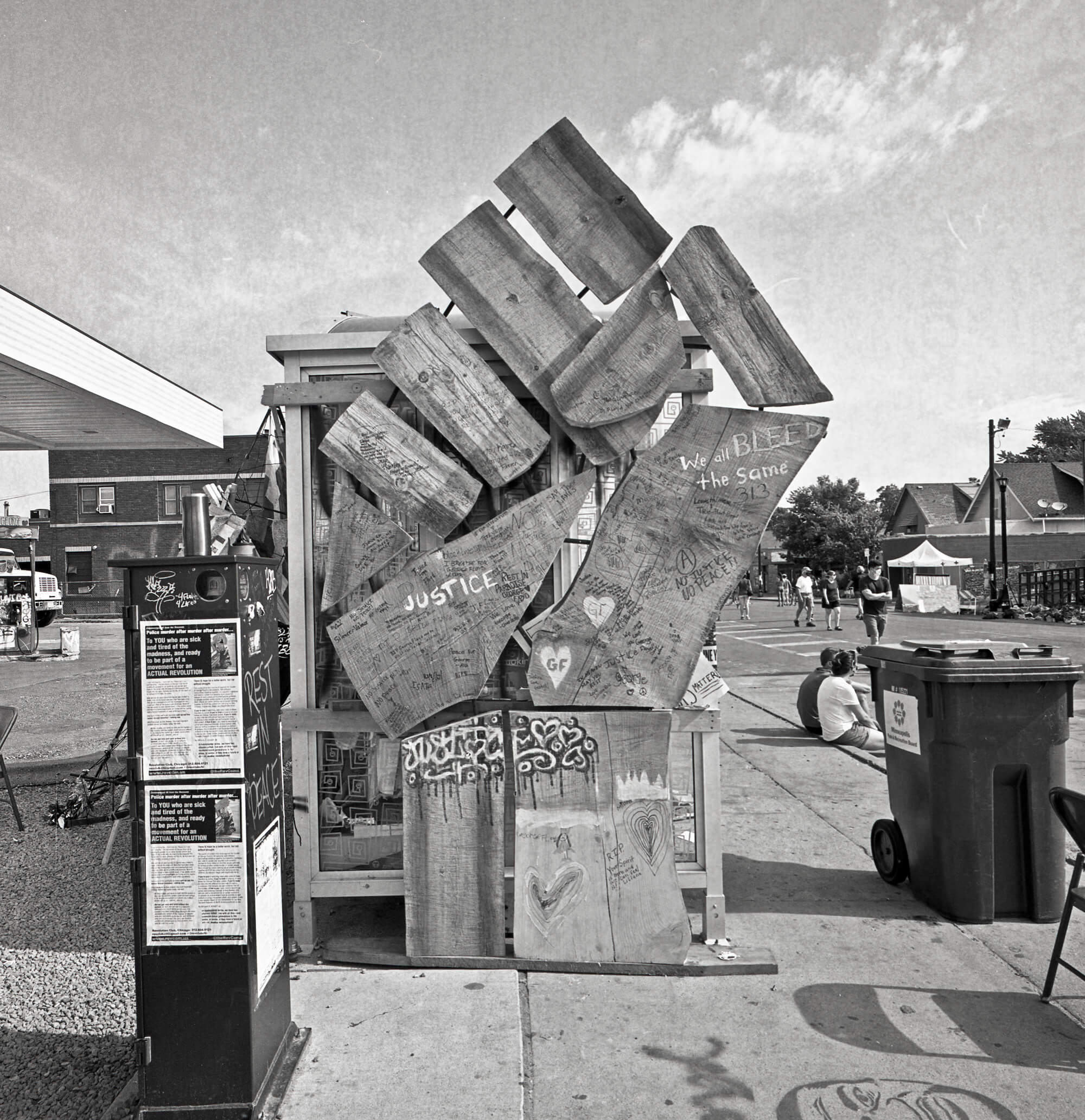 A wooden fist sculpture in Minneapolis, in tribute to George Floyd