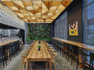 A Marlon Blackwell-designed ramen restaurant with a plywood ceiling