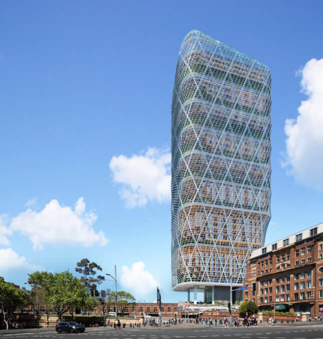 Rendering of a tower wrapped in steel exoskeleton