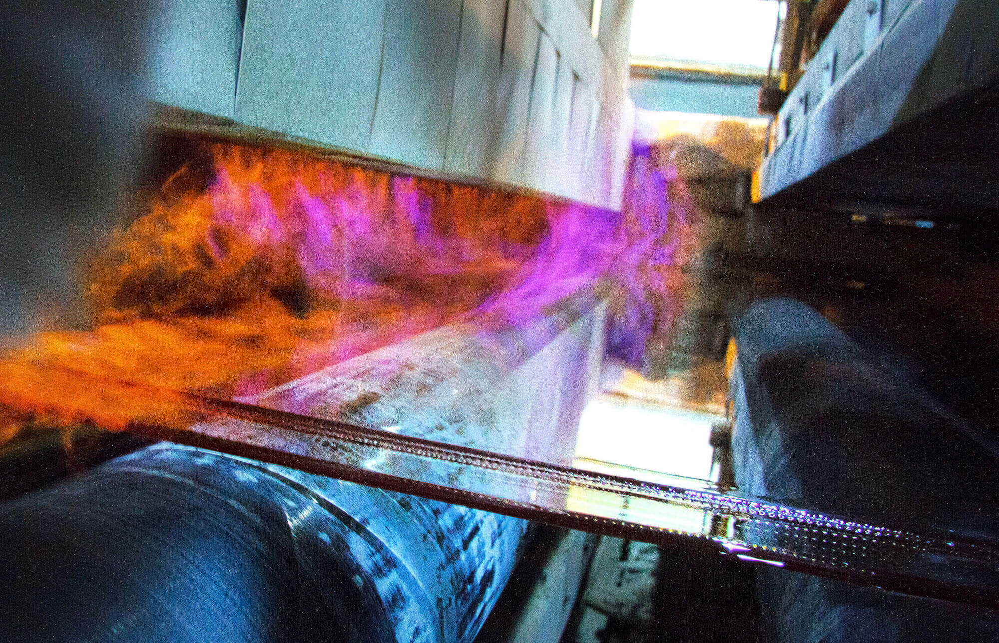 Glass being rolled out on a line