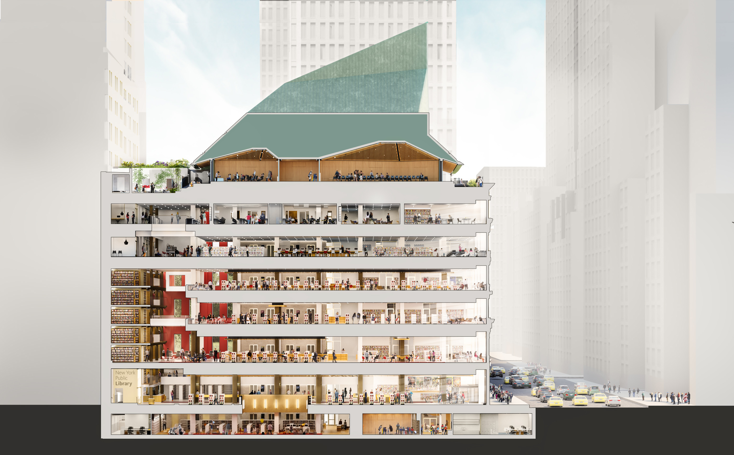 Cross-section of a six-story library with basement