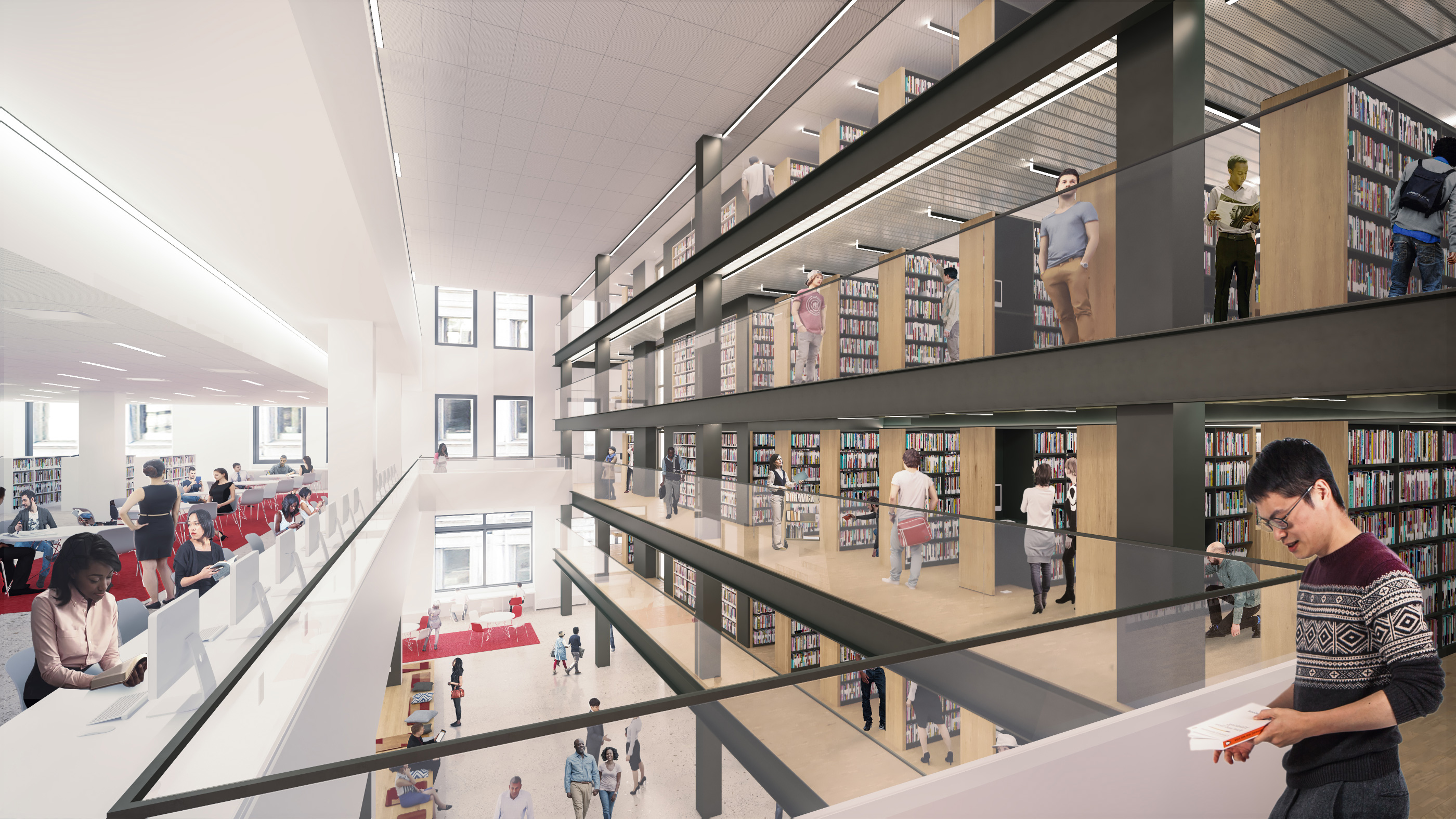Rendering of a large atrium cutting across a library