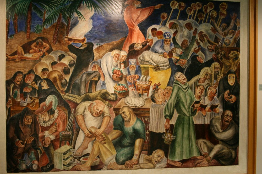 A mural depicting superstitious traditions in medicine before rational intervention