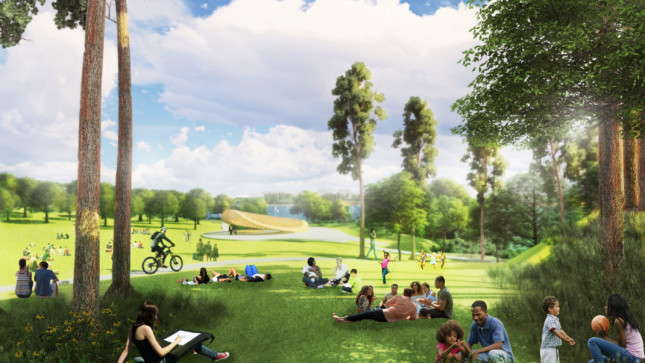 Rendering of a park designed by West 8 with people scattered about