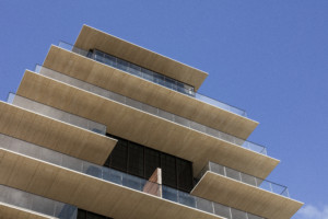 The Arte looking upward at the balconies which overlook the shore