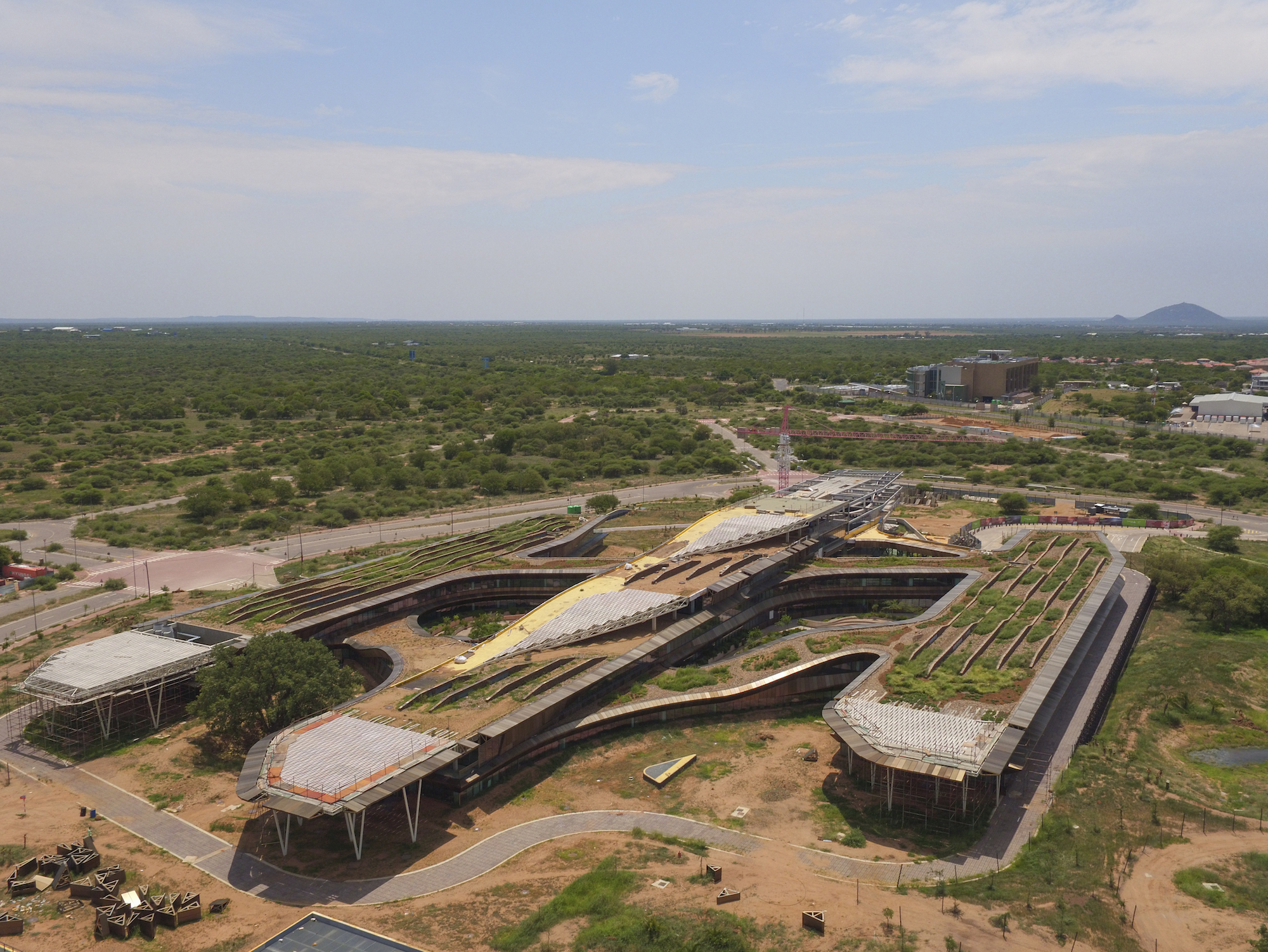 Aerial image of the Botswana Innovation Hub and its spaceship-like form