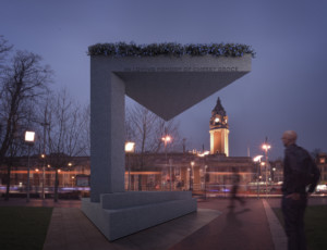 Rendering of the Cherry Groce Memorial by Adjaye Associates at night