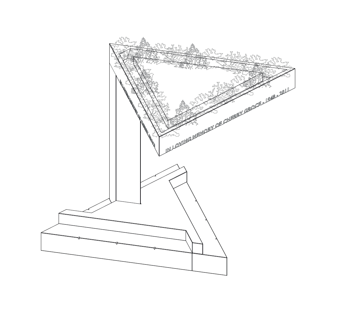 Line drawing of the Cherry Groce Memorial by Adjaye Associates at night