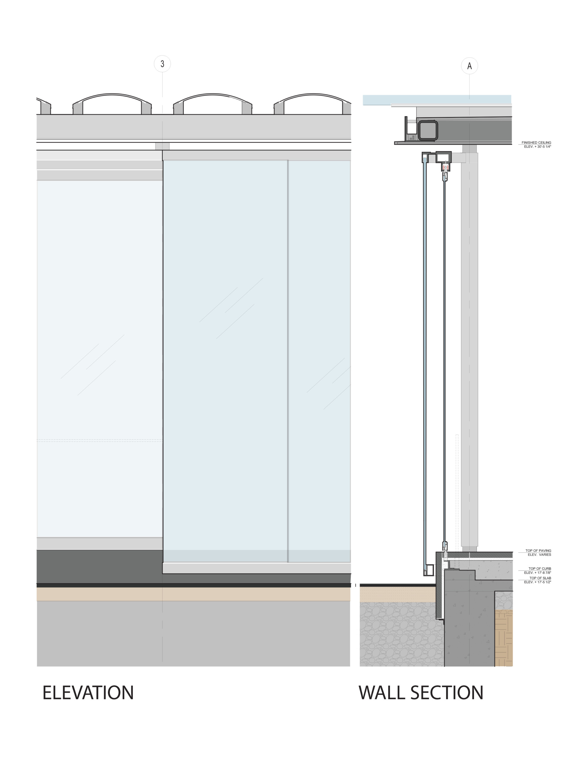 A detailed elevation and section of the pavillion's oversize glass doors.