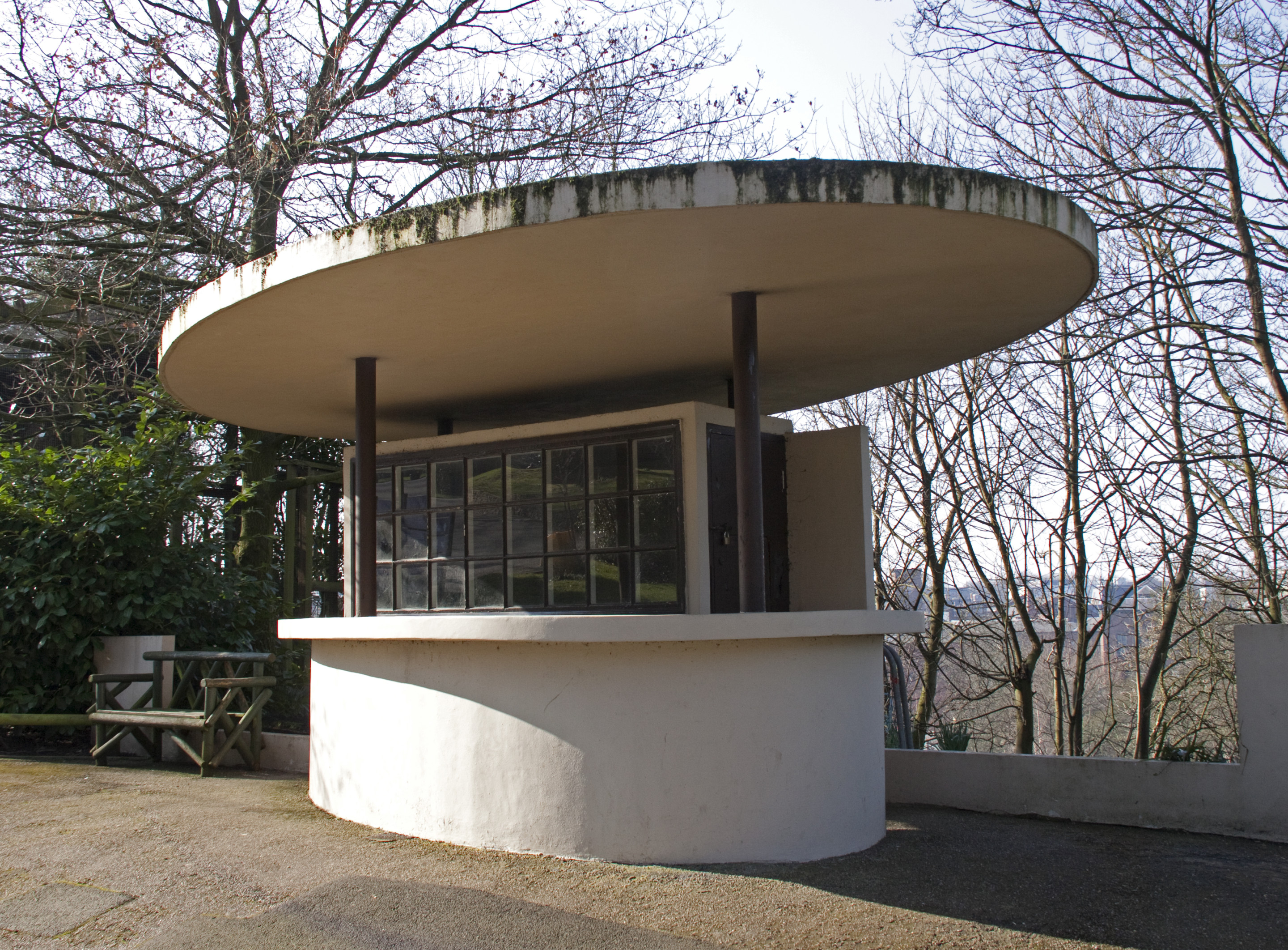 modernist structure at Dudley Zoo in UK
