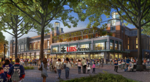 Rendering of the new Islanders arena, with a UBS sign outside
