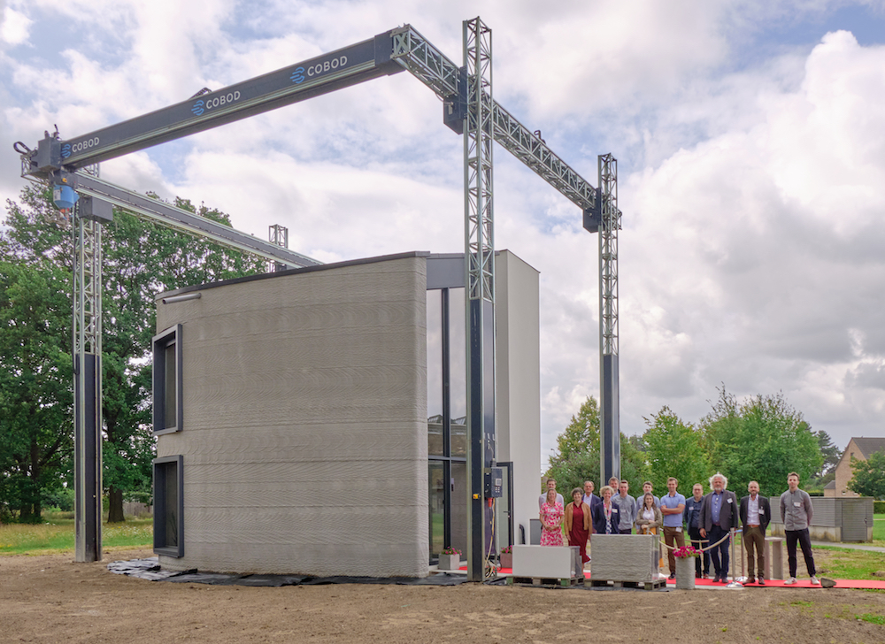 photo of a 3D printed concrete building in belgium