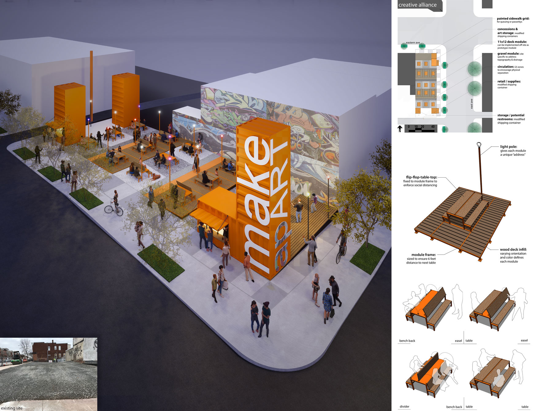 Rendering of a streetscape with orange containers